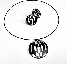 Tuxedo Pendant and Earrings Set by Louise Fischer Cozzi (Polymer Necklace & Earrings)
