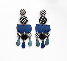 Blue Wavy Earrings by Louise Fischer Cozzi (Polymer Clay Earrings)