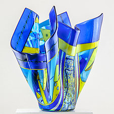 Variations in Blue Vessel by Varda Avnisan (Art Glass Vessel)
