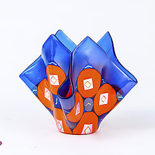 Blue and Orange Vessel by Varda Avnisan (Art Glass Vessel)