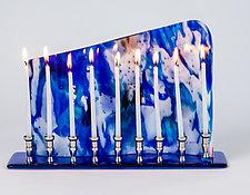 Celestial Blue by Varda Avnisan (Art Glass Menorah)