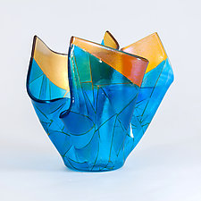 Sun on Water Art Glass Sculpture by Varda Avnisan (Art Glass Sculpture)