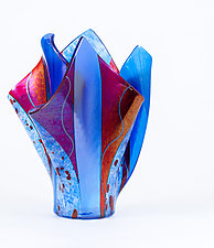 Blue and Red by Varda Avnisan (Art Glass Vessel)