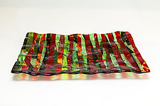 Striped Christmas Platter by Varda Avnisan (Glass Platters)