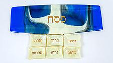 White City Seder Plate by Varda Avnisan (Art Glass Seder Plate)