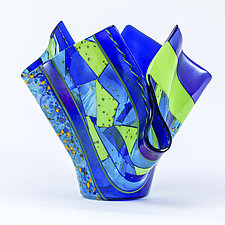 Blue and Green Vessel by Varda Avnisan (Art Glass Vessel)
