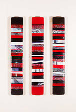 Composition in Red and Black by Varda Avnisan (Art Glass Wall Sculpture)