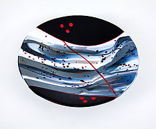 Red Line Bowl by Varda Avnisan (Art Glass Bowl)