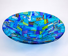 Barcelona Blue Art Glass Bowl by Varda Avnisan (Art Glass Bowl)