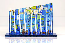 Mosaic Art Glass Menorah by Varda Avnisan (Art Glass Menorah)