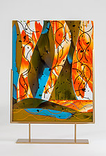 Abstract Orange by Varda Avnisan (Art Glass Sculpture)