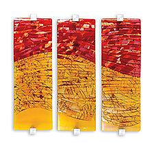Sunrise Sunset Triptych by Varda Avnisan (Art Glass Wall Sculpture)