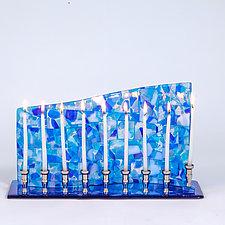 Blue Mosaic Art Glass Menorah by Varda Avnisan (Art Glass Menorah)