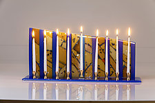 Gold and Blue Menorah by Varda Avnisan (Art Glass Menorah)