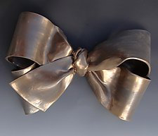 Single Bronze Bow by Lenore Lampi (Ceramic Wall Sculpture)