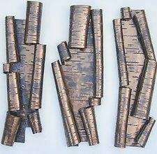 Scrolls in Bronze Trio III by Lenore Lampi (Ceramic Wall Sculpture)
