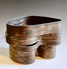 Hinged Series, Low Vessel 1 by Lenore Lampi (Ceramic Vessel)