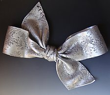 Embossed Bow by Lenore Lampi (Ceramic Wall Sculpture)