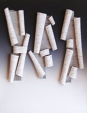 Scrolls in White III by Lenore Lampi (Ceramic Wall Sculpture)