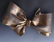 Big Bronze Bow II by Lenore Lampi (Ceramic Wall Sculpture)