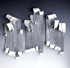Scrolls in White Trio by Lenore Lampi (Ceramic Wall Sculpture)