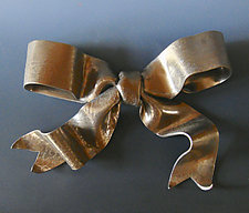 Romantic Metallic Bow by Lenore Lampi (Ceramic Wall Sculpture)