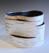 Hinged Series, Low Vessel 2 by Lenore Lampi (Ceramic Vase)