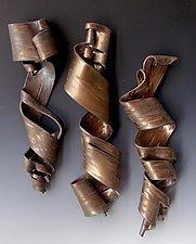 Furls in Bronze by Lenore Lampi (Ceramic Wall Sculpture)