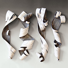 Lyricism Quartet in White by Lenore Lampi (Ceramic Wall Sculpture)