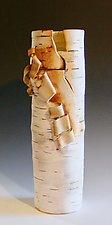 Tall Birch Motif Vase by Lenore Lampi (Ceramic Vase)