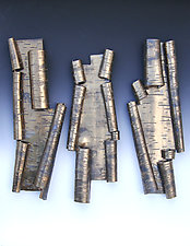 Scrolls in Bronze Variation One by Lenore Lampi (Ceramic Wall Sculpture)