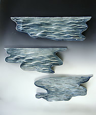 Water Wedge Trio by Lenore Lampi (Ceramic Wall Sculpture)