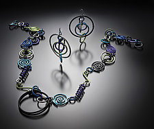 Hoop & Spiral Necklace and Earrings Set by Sylvi Harwin (Aluminum Jewelry)