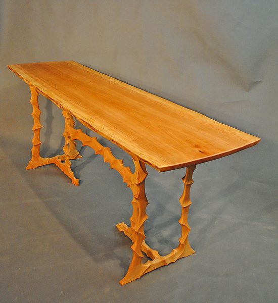 Live Edge Cherry Table On Sculpted Stand By John Wesley Williams