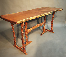 Sculpted Walnut Table by John Wesley Williams (Wood Console Table)