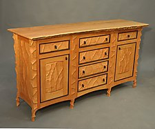 Sculpted Sideboard by John Wesley Williams (Wood Cabinet)
