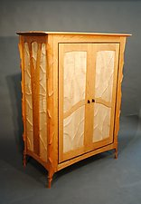 Sculpted Cherry Case by John Wesley Williams (Wood Cabinet)