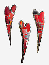 Swooping Hearts Wall Sculpture by Anthony Hansen (Metal Wall Sculpture)