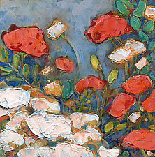 Poppies in a Springtime Garden by Denise Souza Finney (Acrylic Painting)