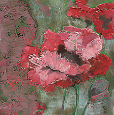 Red Poppies and Lace by Denise Souza Finney (Acrylic Painting)