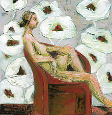 Figure With Poppies I by Denise Souza Finney (Acrylic Painting)