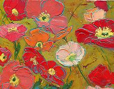 Dancing Poppies On Ochre by Denise Souza Finney (Acrylic Painting)