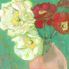 Poppies In A Peach Vase by Denise Souza Finney (Acrylic Painting)