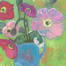 Poppies In A Blue Cup by Denise Souza Finney (Acrylic Painting)