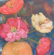 Poppies In An Orange Vase by Denise Souza Finney (Acrylic Painting)
