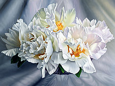 White Peonies on Moire by Barbara Buer (Oil Painting)
