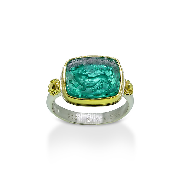 Murano Glass Intaglio Ring with Wolf Centaur