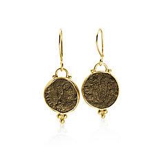 Ancient Roman Coin Earrings by Nancy Troske (Gold Earrings)
