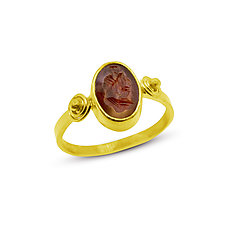 Ancient 3rd Century Roman Intaglio Ring by Nancy Troske (Gold & Stone Ring- Size 9.5)