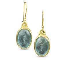Athena Earrings by Nancy Troske (Gold, Silver & Glass Earrings)